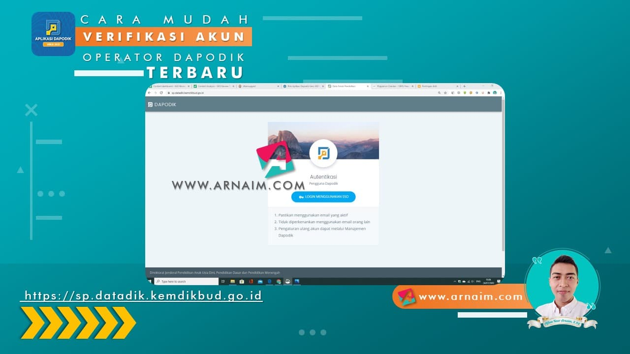 Arnaim.com - Cara Mudah Verifikasi Akun Operator Dapodik Terbaru (2)