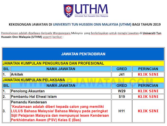 Jawatan Kosong Terkini di Universiti Tun Hussein Onn Malaysia (UTHM)