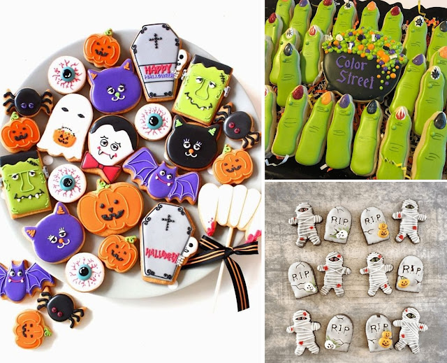 Foto reprodução: yc-sweets.blogspot.com | @fiocco_cookies | @sweetlynnscookies