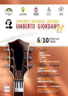 """Foggia, concorso nazionale """"Umberto Giordano"""", al via la XI edizione"""