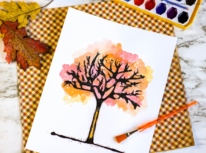 black glue autumn tree art