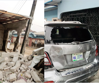 Tragedy Averted As Car Rams Into Shop Few Minutess After Its Occupants Stepped Out
