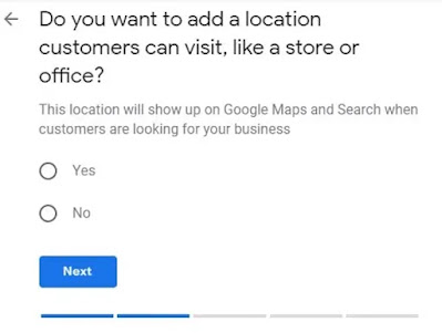 Yes or No type question asking Do you want to add your business location to Google My Business