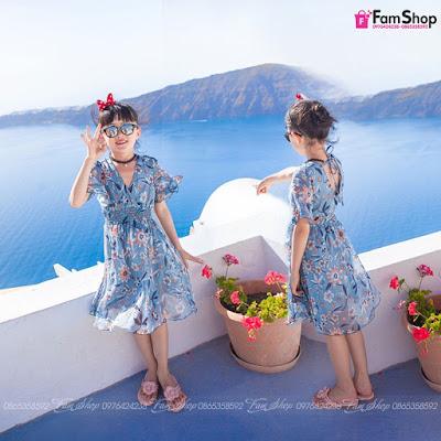Váy maxi mẹ và bé gái