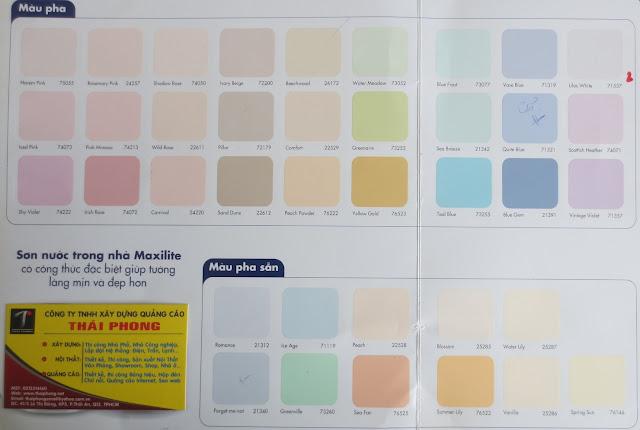 bảng màu sơn Maxilite trong nhà
