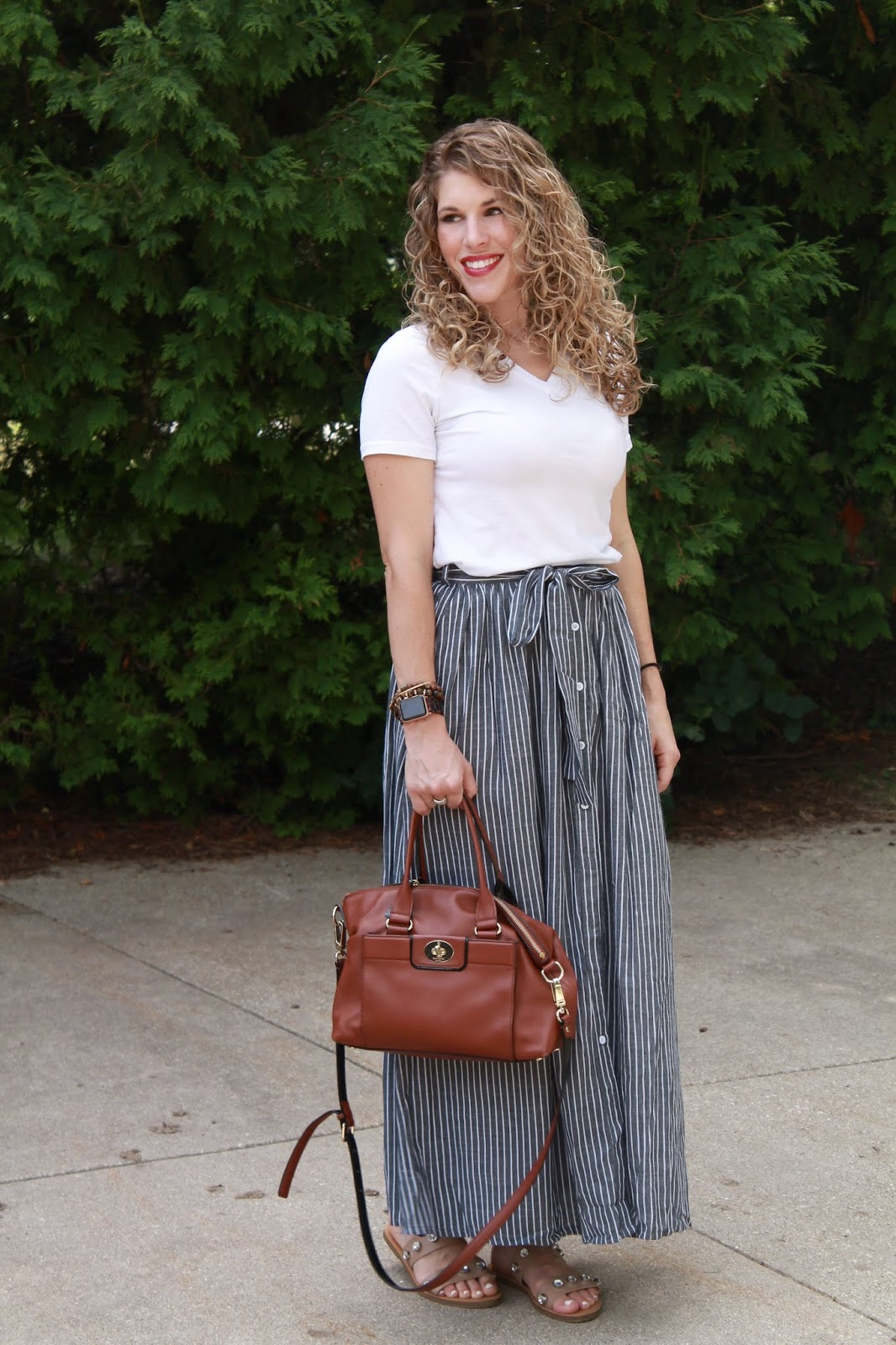 white tee, striped maxi skirt, crystal studded sandals, Kate Spade cognac satchel