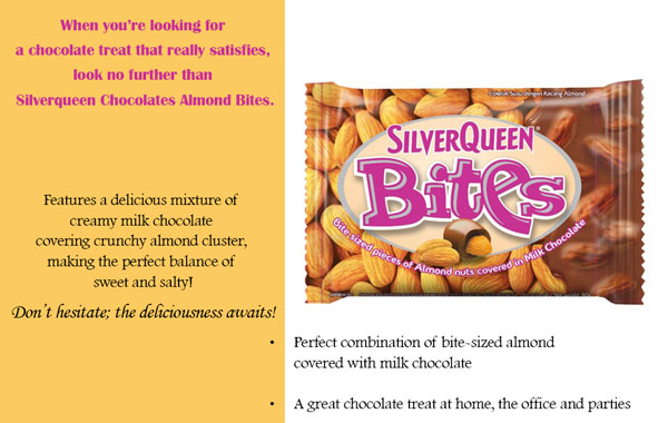 Contoh Iklan Coklat SilverQueen Chocolate Bites Almond dalam Bahasa Inggris