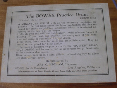 Mike Curotto's Bower Practice Drum Label