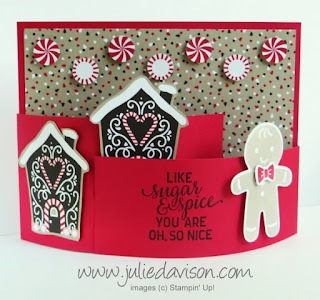 VIDEO Tutorial: How to Make a Bendy Card with Cookie Cutter Christmas and Candy Cane Lane Designer Paper 2016 Stampin' Up! Holiday Catalog www.juliedavison.com