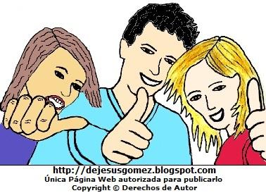 Dibujo de jóvenes saludando con la mano. Dibujos de jóvenes de Jesus Gómez