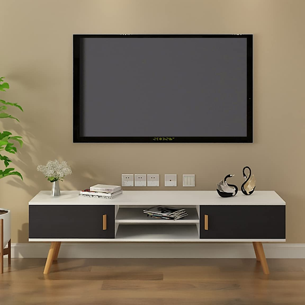 Minimalist Living room wooden cabinet with sholves design ideas