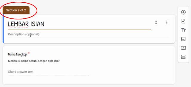 membuat section di  google form