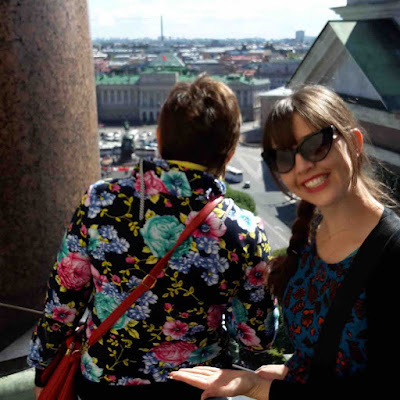 Tourists compete for a view on the rooftop of St. Isaac's Cathedral