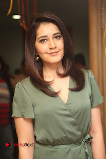 Actress Raashi Khanna Stills in Green Short Dress at Mirchi 95 Suno Aur Mercedes Jeeto Contest  0035.JPG