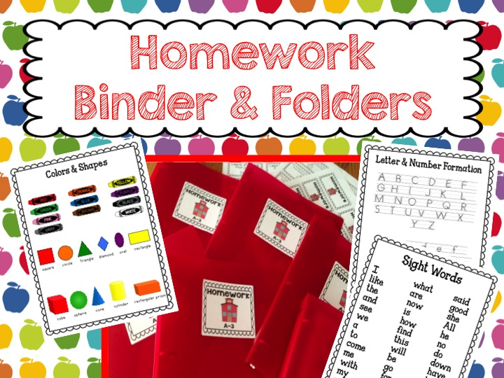 homework for kindergarten, homework binders, homework folders., homework labels