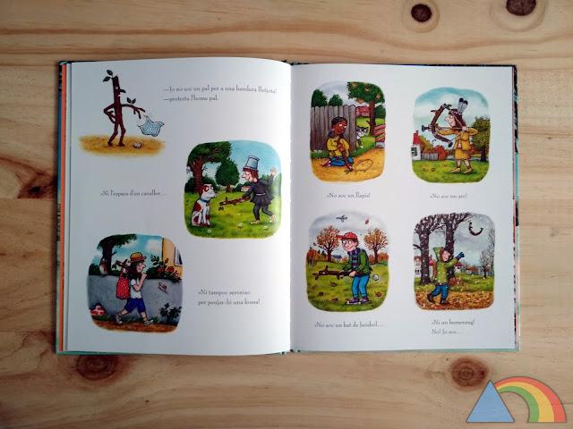Interior del libro El hombre palo de Julia Donaldson y Axel Scheffler