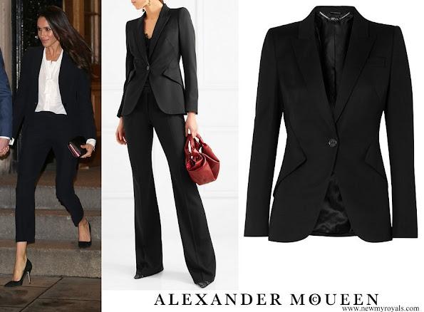 Meghan Markle wore Alexander McQueen Grain de Poudre Wool Blazer