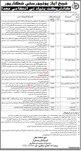 Sheikh Ayaz University Shikarpur Jobs 2020