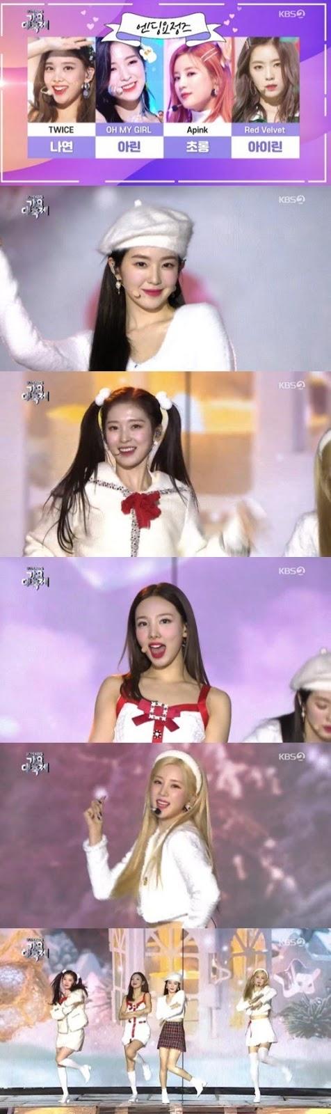 Chorong, Irene, Nayeon ve Ahrin 2019 KBS Gayo Festivalinde birlikte sahne aldı