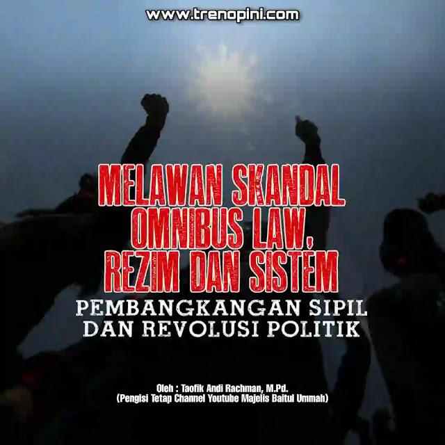 Rancangan Undang-Undang Cipta Kerja (RUU Ciptaker) resmi disahkan menjadi Undang-Undang (UU) pada hari Senin tanggal 5 Oktober kemaren. RUU ini membutuhkan waktu singkat sekitar hanya delapan bulan untuk ditetapkan menjadi undang-undang. Padahal di dalamnya terdapat tujuh puluhan undang-undang yang dipengaruhinya.   Yayasan Lembaga Hukum Indonesia (YLBHI) pun menilai pengesahan Omnibus Law UU Cipta kerja telah menjadi skandal legislasi terbesar dalam sejarah Indonesia. Naskah mana yang disahkan, rakyat pun masih mencarinya. Saat pengesahan saja, anggota DPR tidak memegang naskah yang disahkan. Setelah enam hari disahkan muncul beberapa 3 versi naskah ada yang 1028 halaman, ada yang 1052 halaman dan yang 905 halaman. Lebih aneh dan mengejutkan lagi, DPR mengklarifikasi bahwa UU masih diperbaiki. Padahal, harusnya saat disahkan, naskah harus sudah final dan fix per pasal.