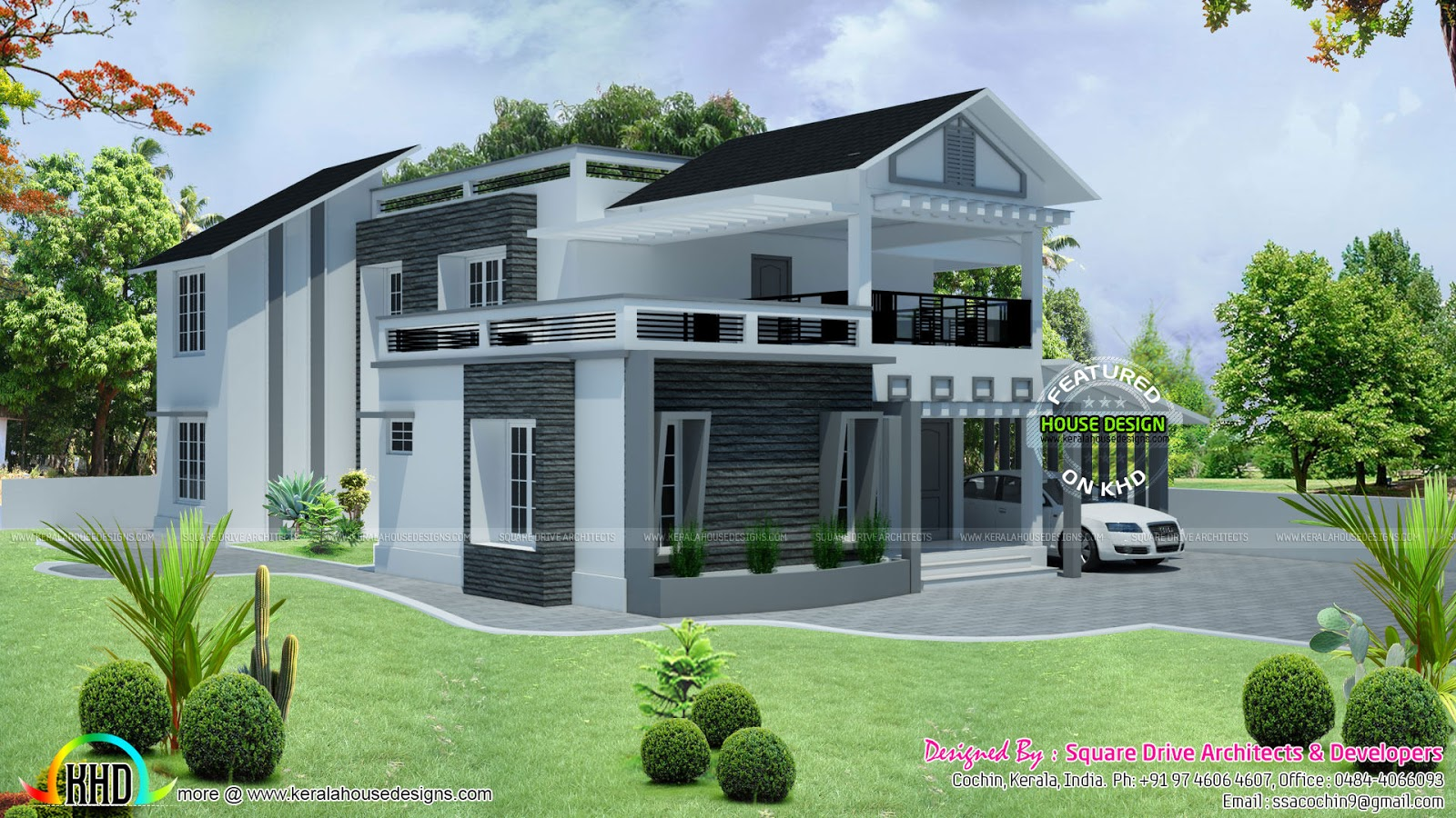 Modern villa architecture   kerala home design and floor plans