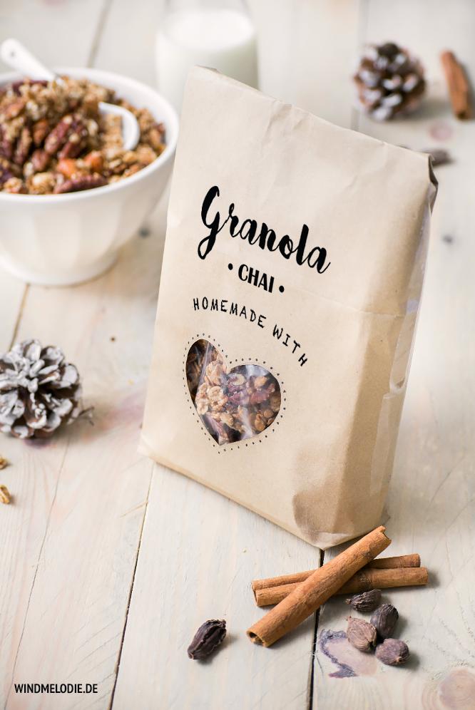 DIY Verpackung Geschenkidee Müsli Granola
