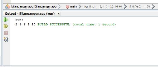 hasil dari program java menampilkan deret bilangan genap