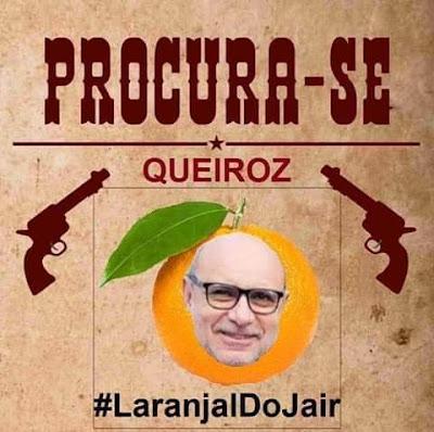 Cartaz de procura-se com Queiroz dentro de uma laranja