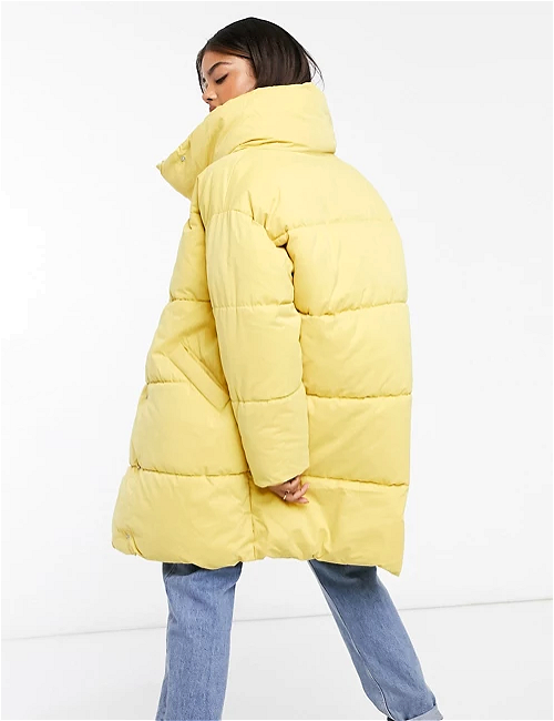 Monki 'Vickan' padded coat in yellow