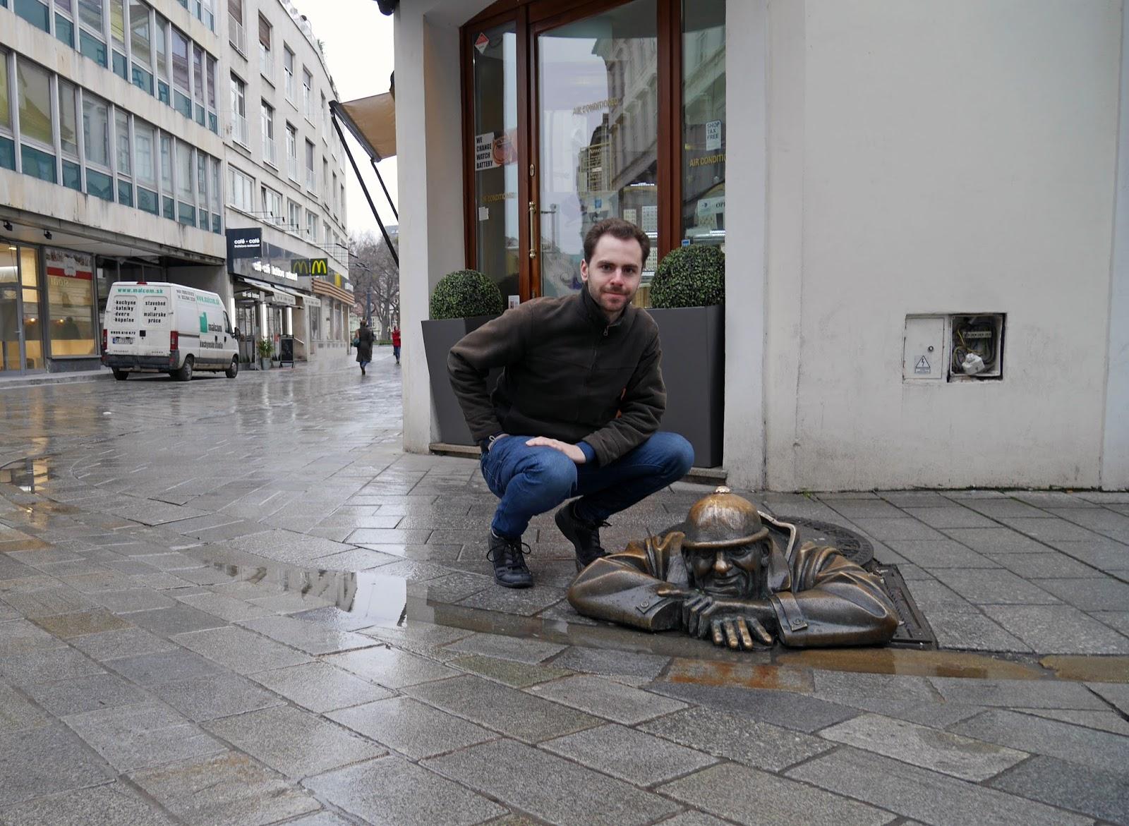 Comical statues in Bratislava