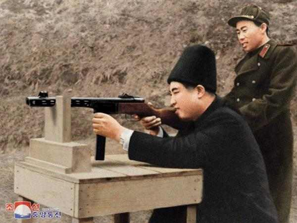 kim il test-fire of the first submachine gun
