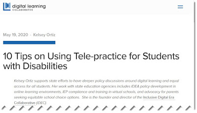 Top of the Digital Learning blog with the 10 tips on using tele-practice