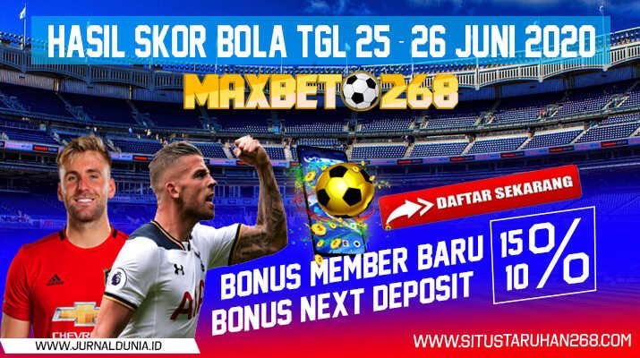 Hasil Pertandingan Sepakbola Tanggal 25 - 26 Juni 2020