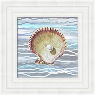 Watercolor Painting Of a Seashell on Teal Blue Wave Art by Irina Sztukowski