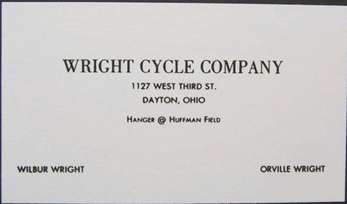Wright Cycle Company Business Card