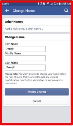 how to change your facebook name on mobile