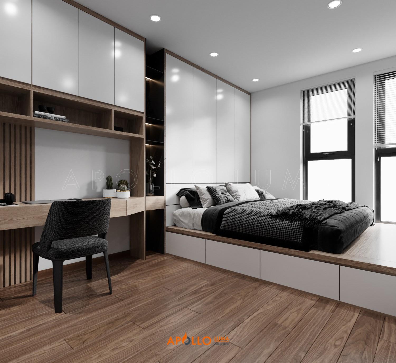Thiết kế phòng ngủ phong cách hiện đại căn hộ Hinode City