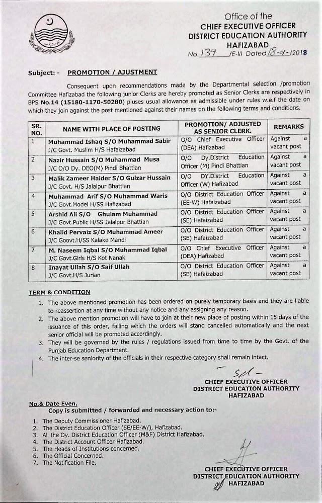 PROMOTION / ADJUSTMENT OF JUNIOR CLERKS AS SENIOR CLERKS OF EDUCATION DEPARTMENT HAFIZABAD
