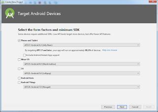 tentukan device yang akan jadi target pemasangan aplikasi nantinya.