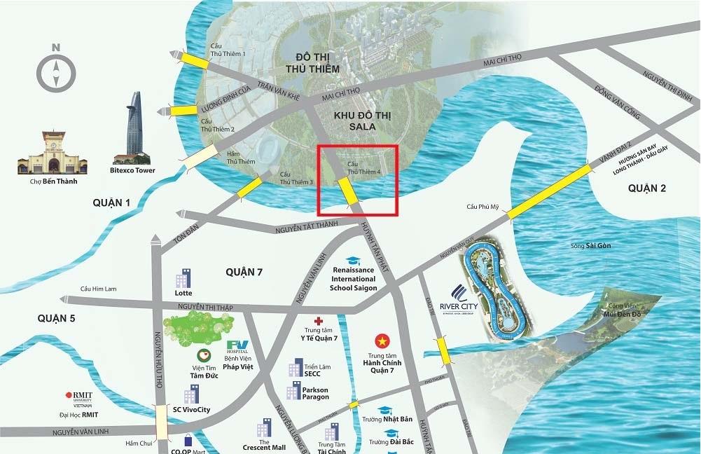 Quy hoạch Cầu Thủ Thiêm 4 bắc từ đường Huỳnh Tấn Phát qua khu đô thị quận 2