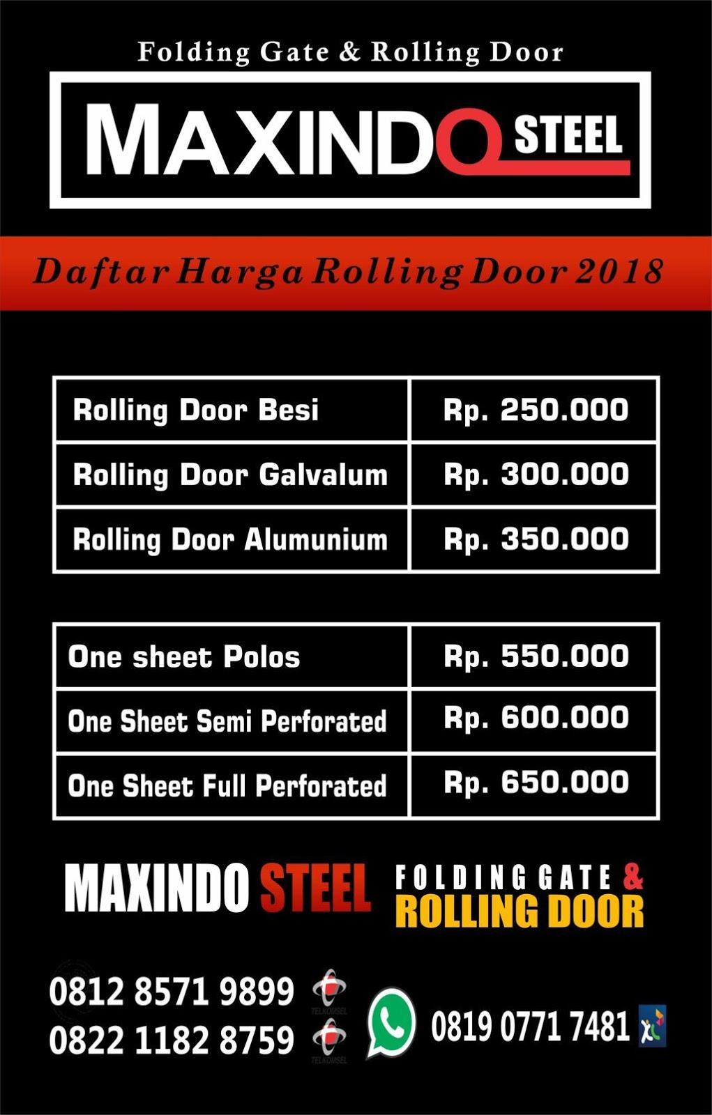 daftar harga rolling door dan folding gate harga rolling door