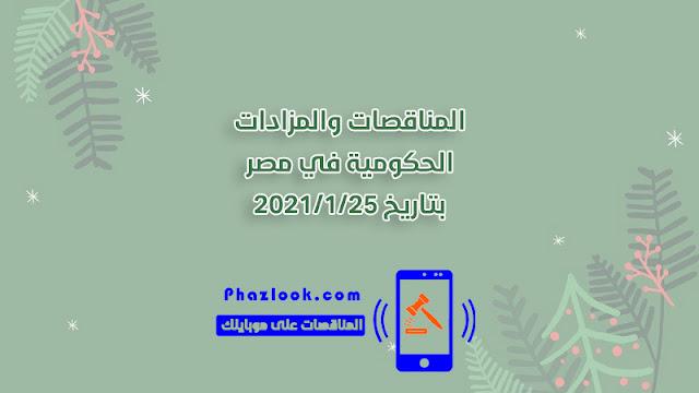مناقصات ومزادات مصر في 2021/1/25