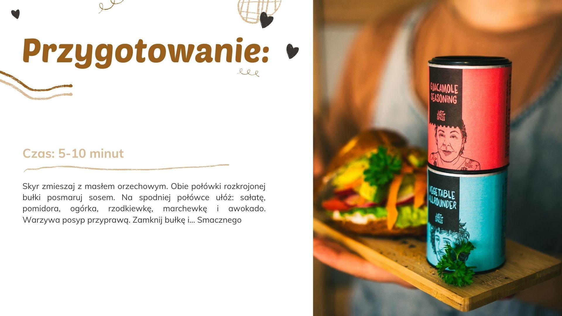 przepis na fit zdrowe śniadanie ze świerzymi warzywami kanapka wegańska z masłem orzechowym i awokado zniżka przyprawy just spices jedzenie przepis przepisy niskokaloryczne dieta