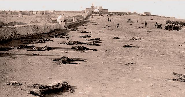 Cadáveres de los soldados españoles en Monte Arruit