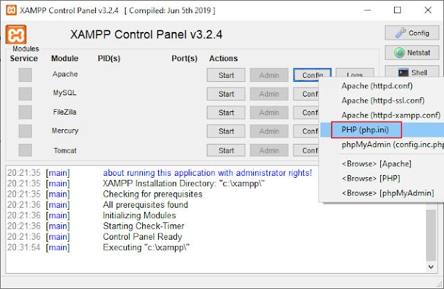 Menu PHP php.ini dans Apache XAMPP