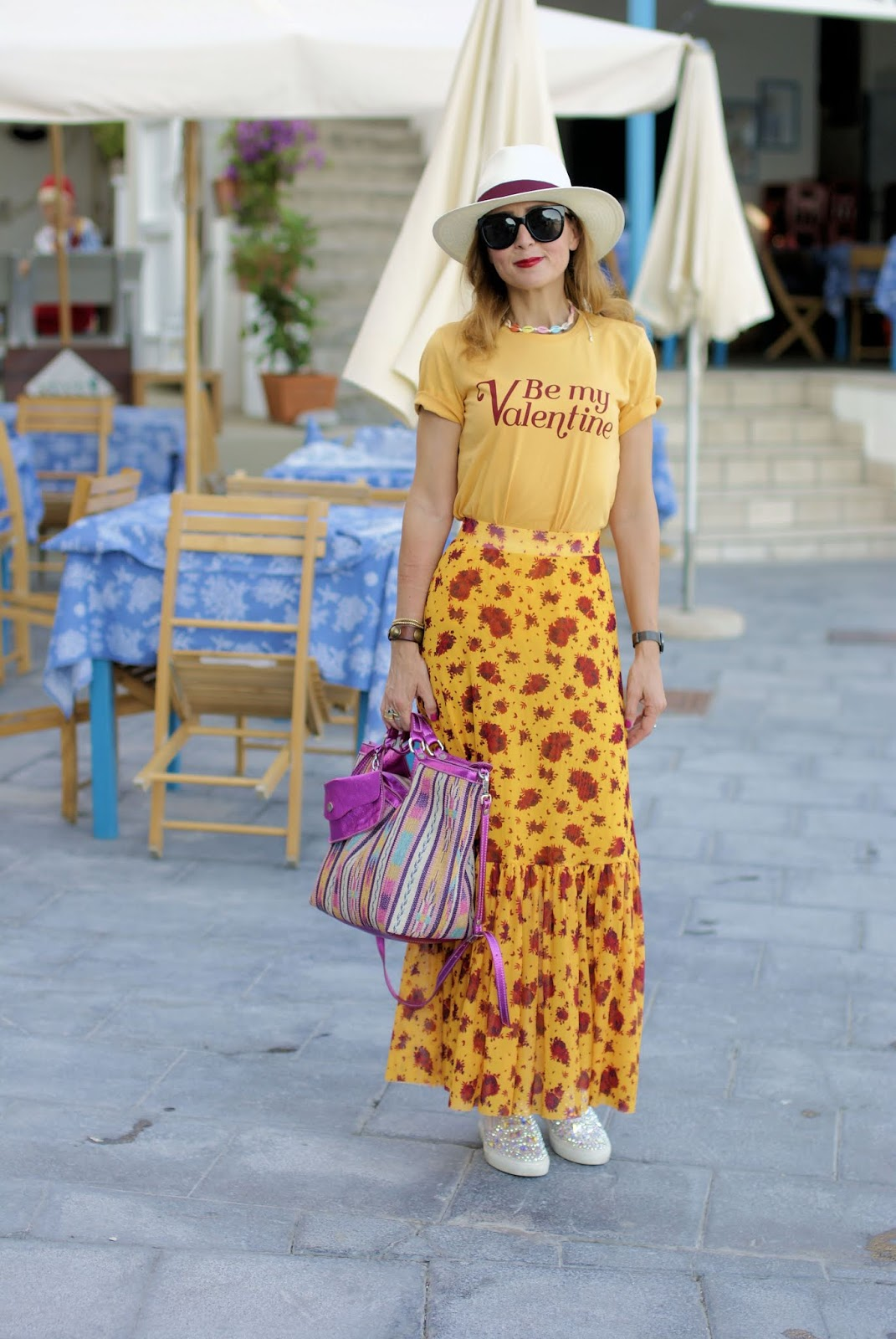 Yellow skirt and bag, Caterina Lucchi bag on Fashion and Cookies fashion blog, fashion blogger style
