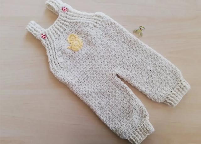 Tutorial jardinero en punto de arroz para bebé a crochet