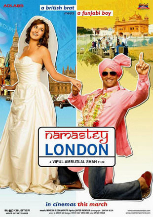 Poster of Namastey London 2007 Full Hindi Movie Download BRRip 720p ESub Watch Online Free In Hd
