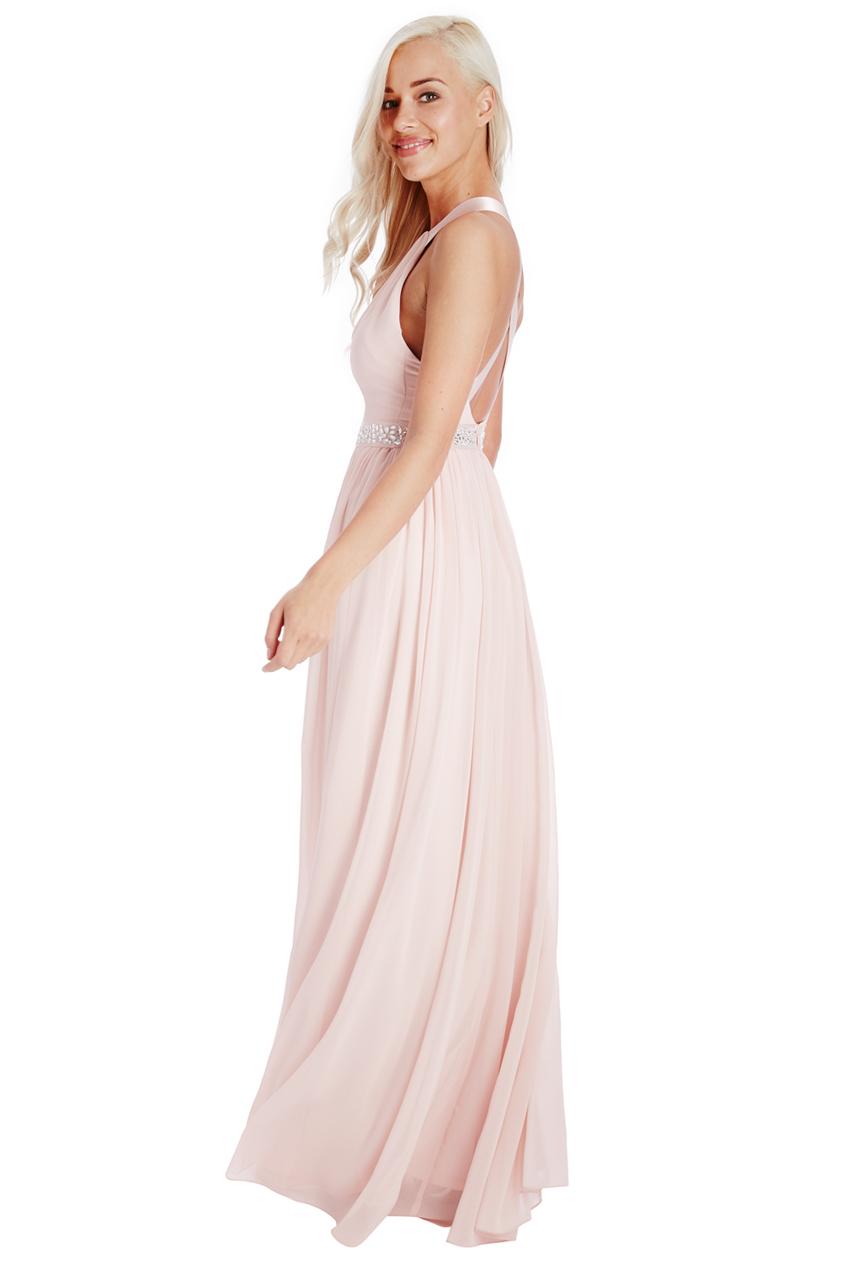 d73b066d121e Maxi βραδινό φόρεμα από μουσελίνα σε χρώμα nude - ροζ creme με υπέροχη  ανοιχτή πλάτη με χιαστί τιράντες και λεπτομέρια ζώνης από swarovski. Τιμή   160 Ευρώ