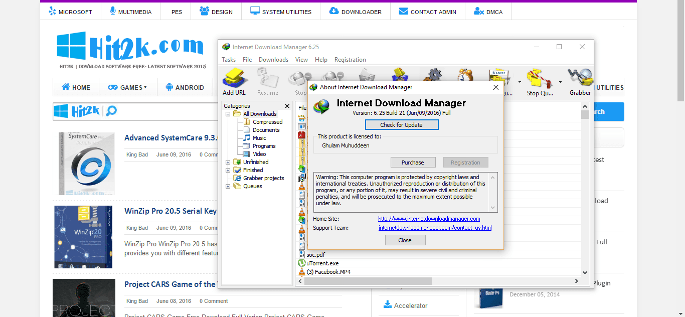 serial number idm 6.25 build 21
